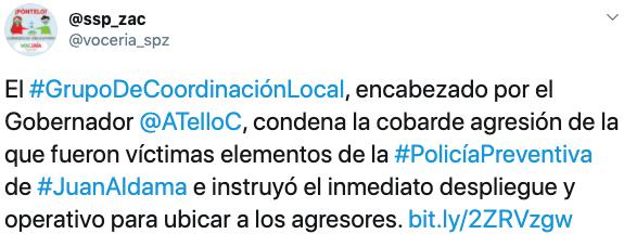 La SSP de Zacatecas informó sobre el ataque a la comisaría Juan Aldama el 19 de septiembre (Foto: Twitter / voceria_spz)