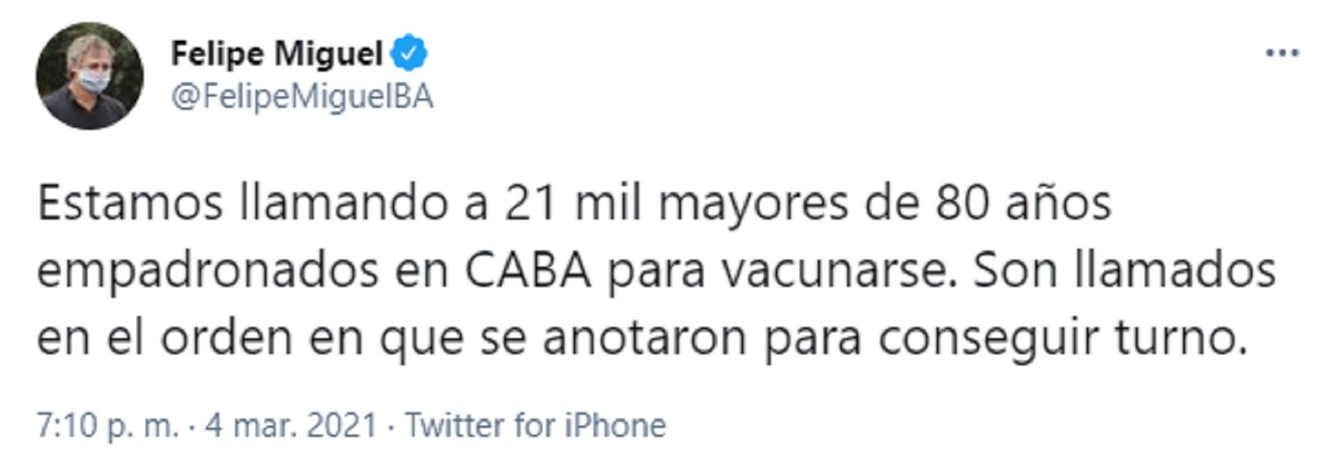 El tuit de Felipe Miguel