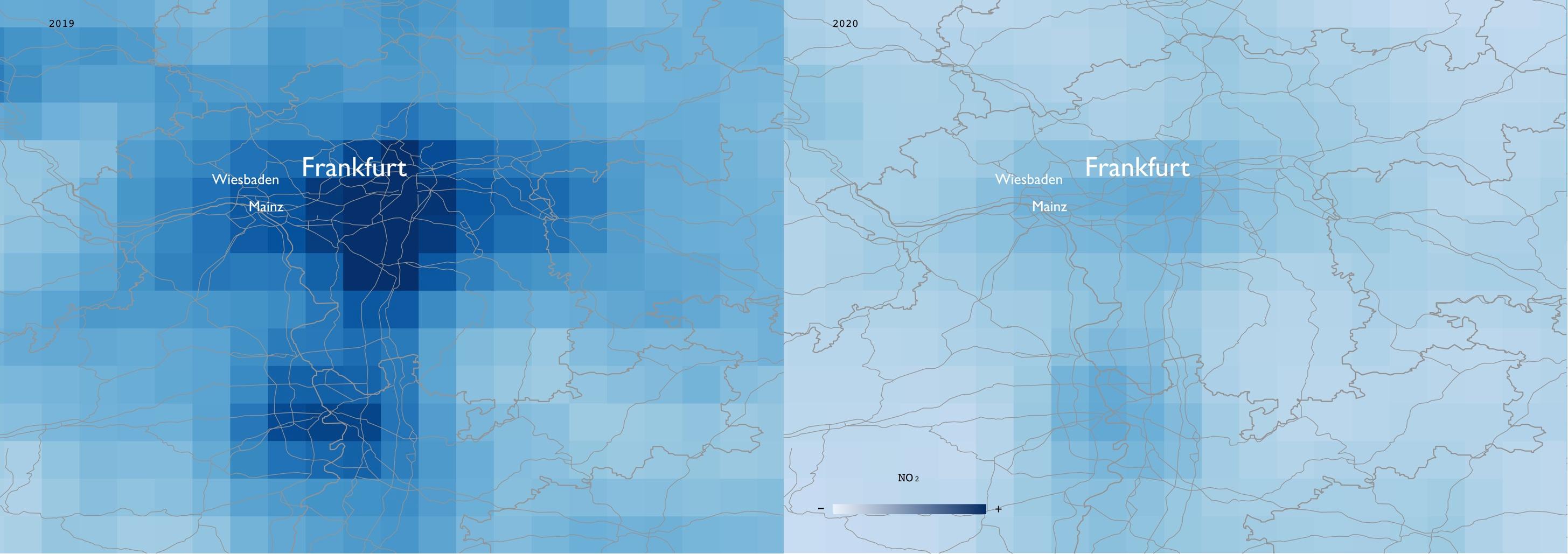 Mapa que muestra en azul la mayor contaminación ambiental en la zona de Frankfurt, Alemania, comparado a otro día donde no hay actividad industrial - ESA/EPHA/James Poetzscher/Handout via REUTERS