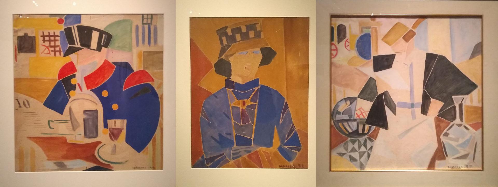 """""""Cadete"""" (MNAVM), """"Retrato de Manolita Piña de Torres García""""(Museo Torres García) y """"Dama en el café"""" (MNBA), todas de 1918"""