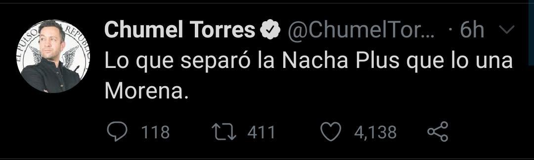 """El comunicador hizo referencia a la relación que mantuvo Garay con la ex actriz y ex modelo mexicana, Liliana Lago, apodada como """"La Nacha Plus""""  (Foto: Twitter/@ChumelTorres)"""