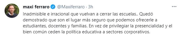 Maximiliano Ferraro también se expresó sobre las nuevas medidas