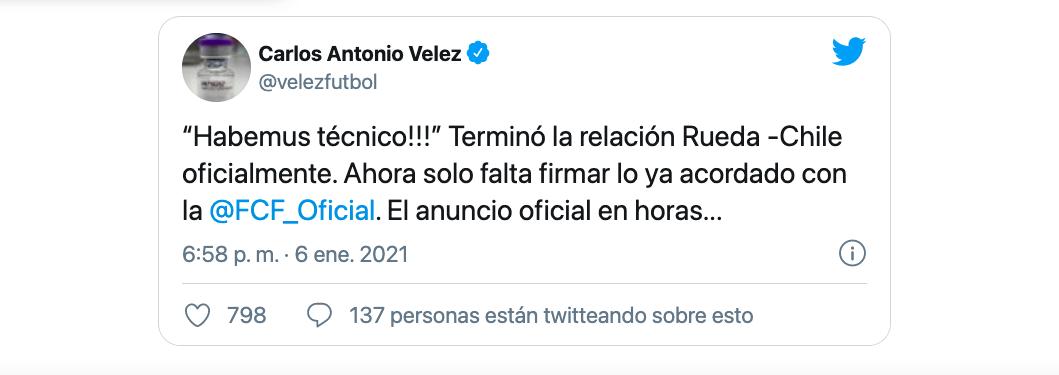 Carlos Antonio Vélez vaticinó vía Twitter la llegada oficial de Reinaldo Rueda a la dirección técnica de la Selección Colombia de fútbol / (Twitter: @velezfutbol).