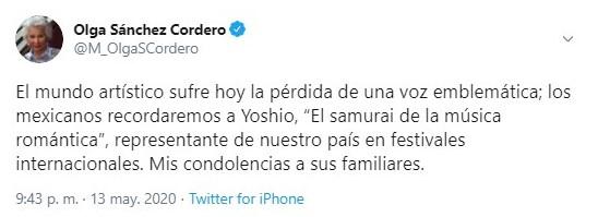 La funcionaria pública reconoció el legado cultural del cantante (Foto: Twitter@M_OlgaSCordero)