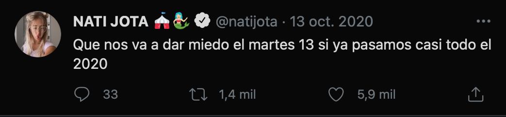 Foto: captura de pantalla de Twitter @natijota