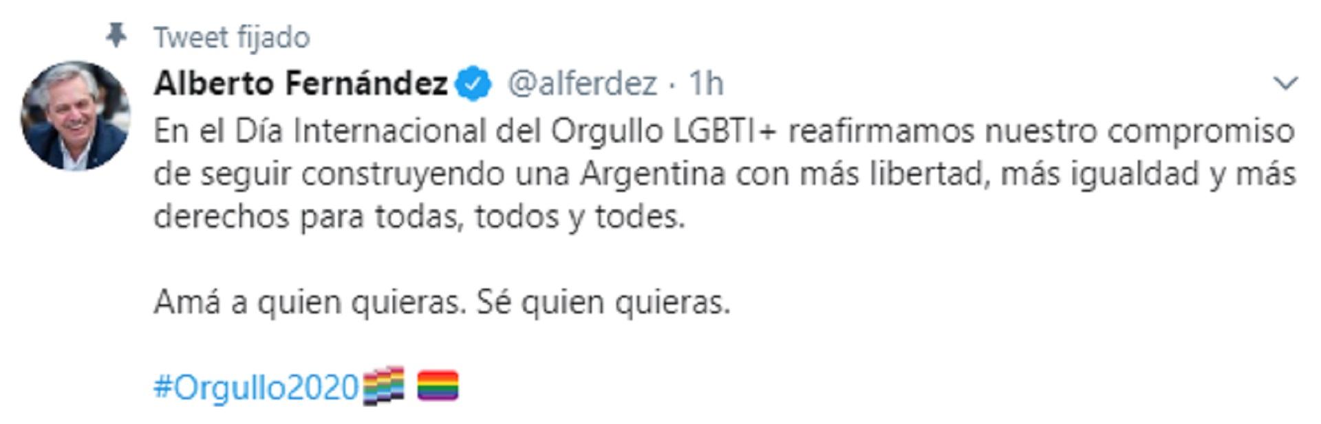 El Tuit de Alberto Fernández en el Día del Orgullo LGBTI+