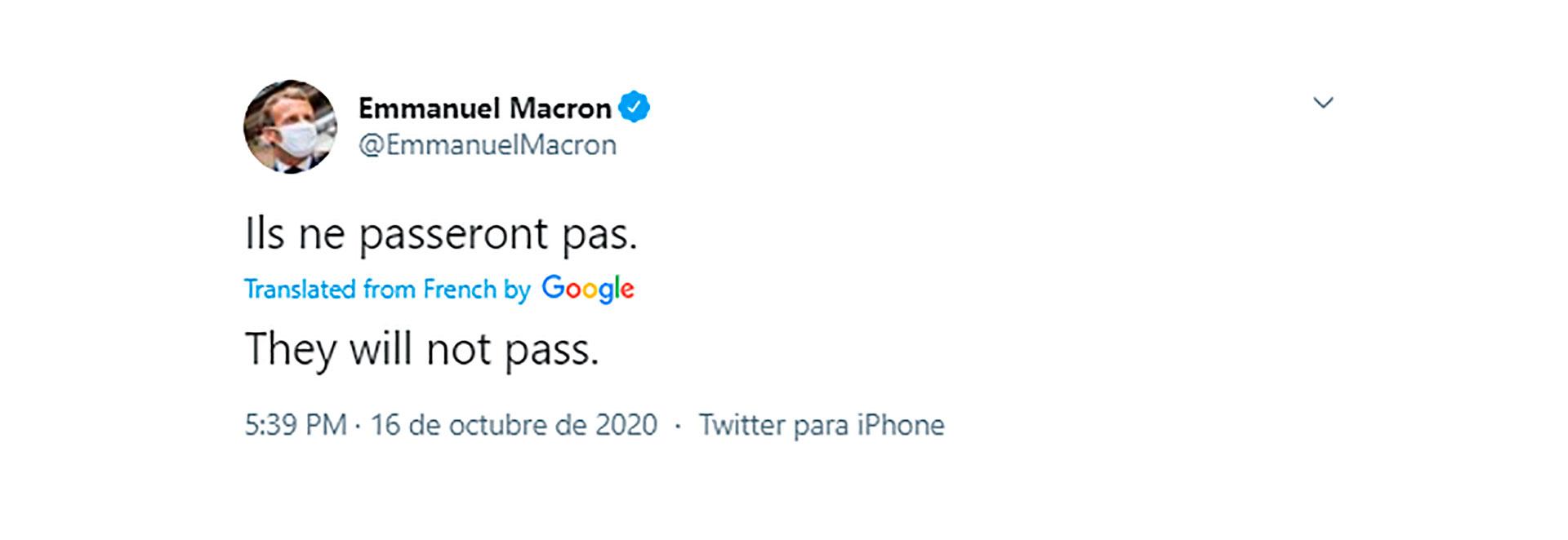 El tuit de Macron tras su discurso este viernes