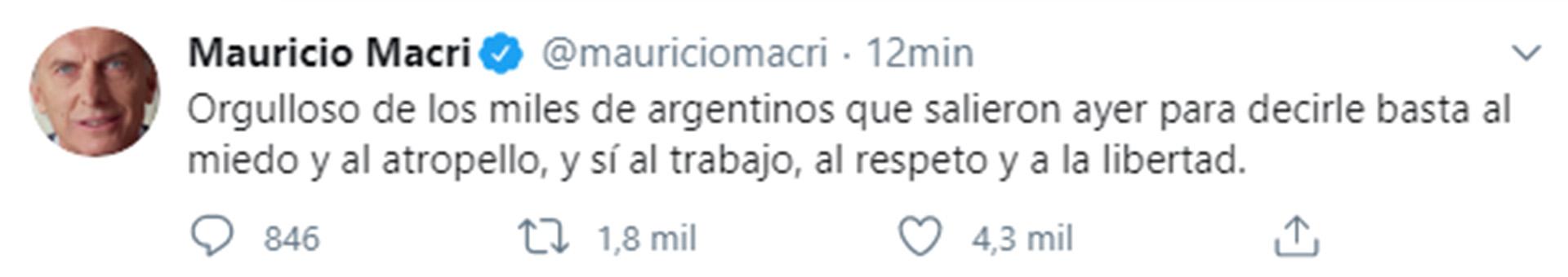 Mauricio Macri respaldó la masiva movilización y banderazo contra Alberto Fernández que ocurrió el 17 de agosto