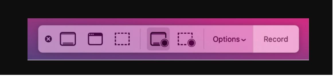 Quick Time también ofrece un menú con botones para iniciar y detener la grabación