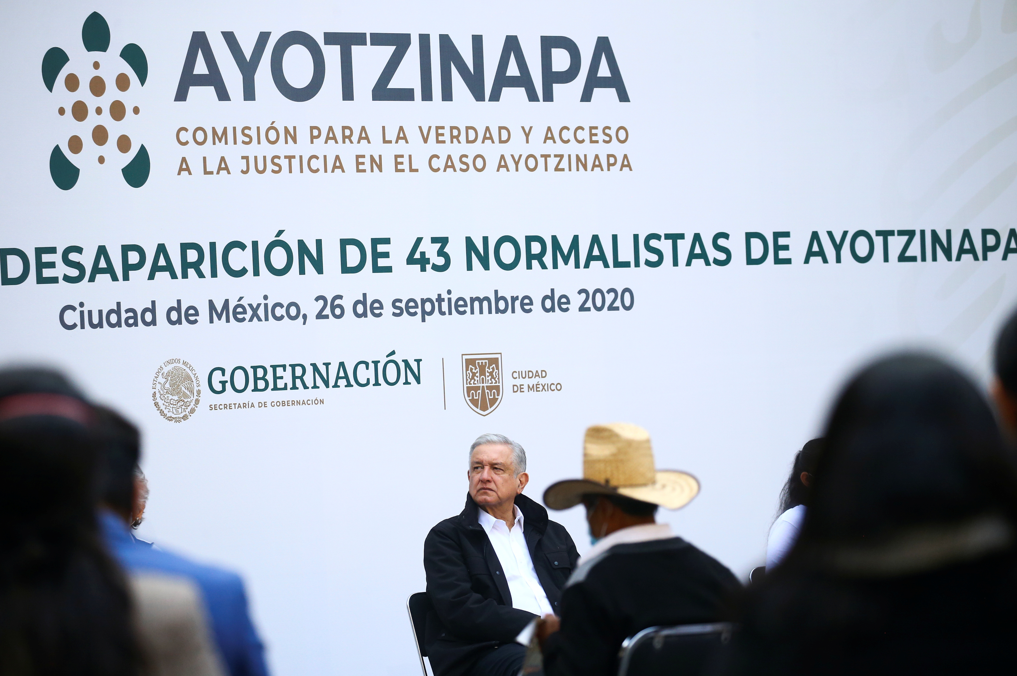 Andres Manuel López Obrador en el sexto aniversario de su desaparición, en el Palacio Nacional en la Ciudad de México, México el 26 de septiembre de 2020.