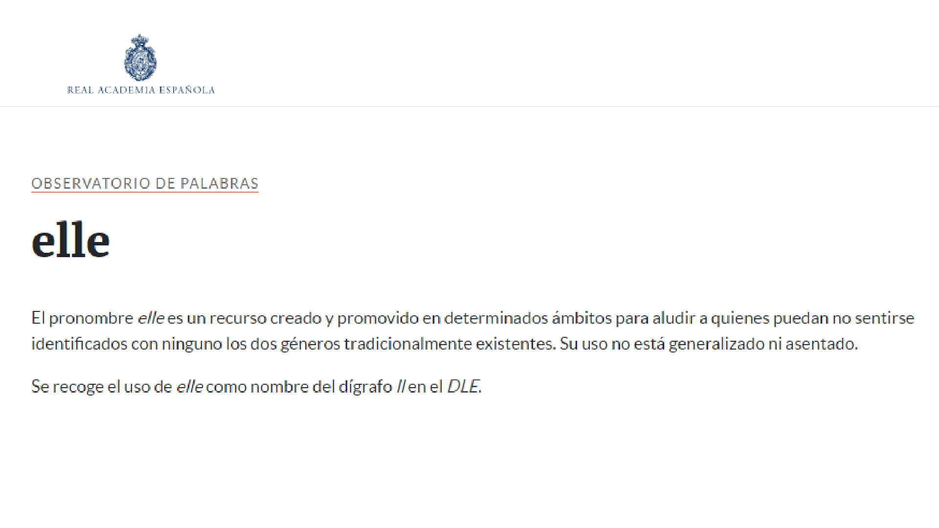 Elle: la RAE estudia incorporar al español este pronombre - Infobae
