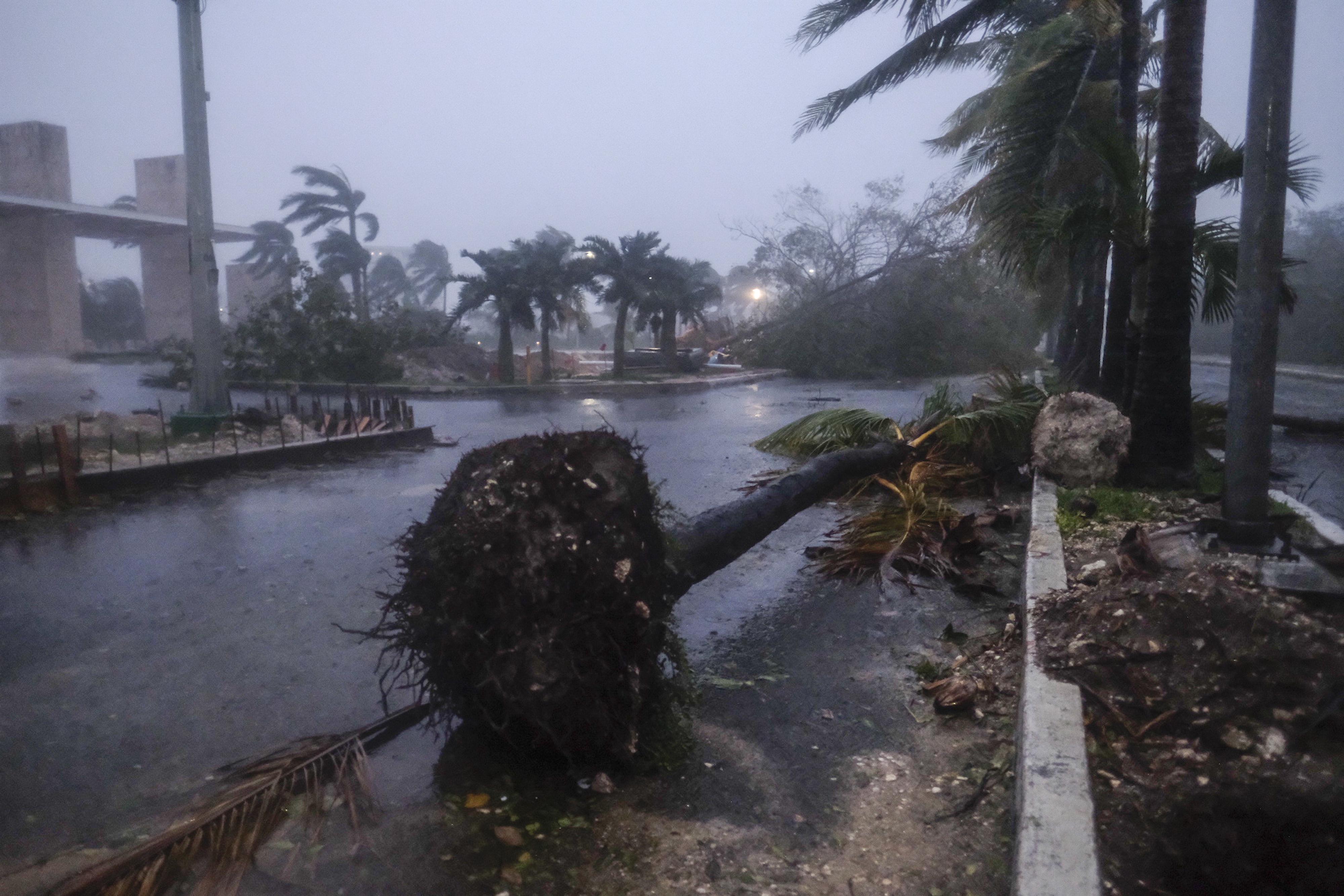 Una vista de algunos de los escombros que dejó el huracán Delta en Cancún, en Cancún, México, el miércoles 7 de octubre de 2020.