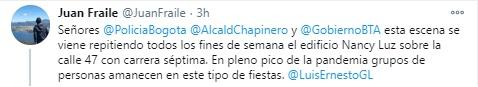 El periodista Juan Fraile denunció fiestas clandestinas en Bogotá. Foto: Twitter Juan Fraile.