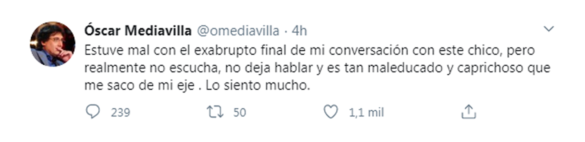 """El pedido de disculpas de Mediavilla por su comportamiento en el """"Cantando"""""""