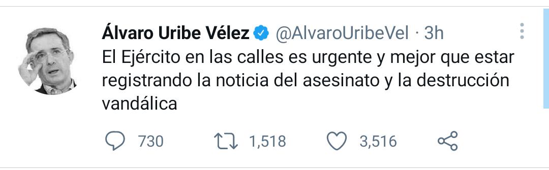 VRPKD5YOZRBGHAFXR6WATYDZBU - Álvaro Uribe pide sacar el Ejército a las calles