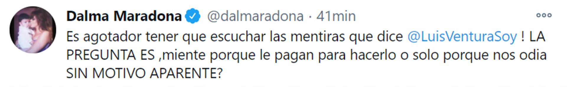 El descargo de Dalma Maradona en Twitter