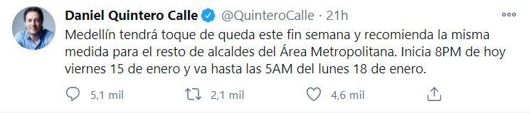 El tweet de Quintero ocasionó polémica en la ciudadanía.