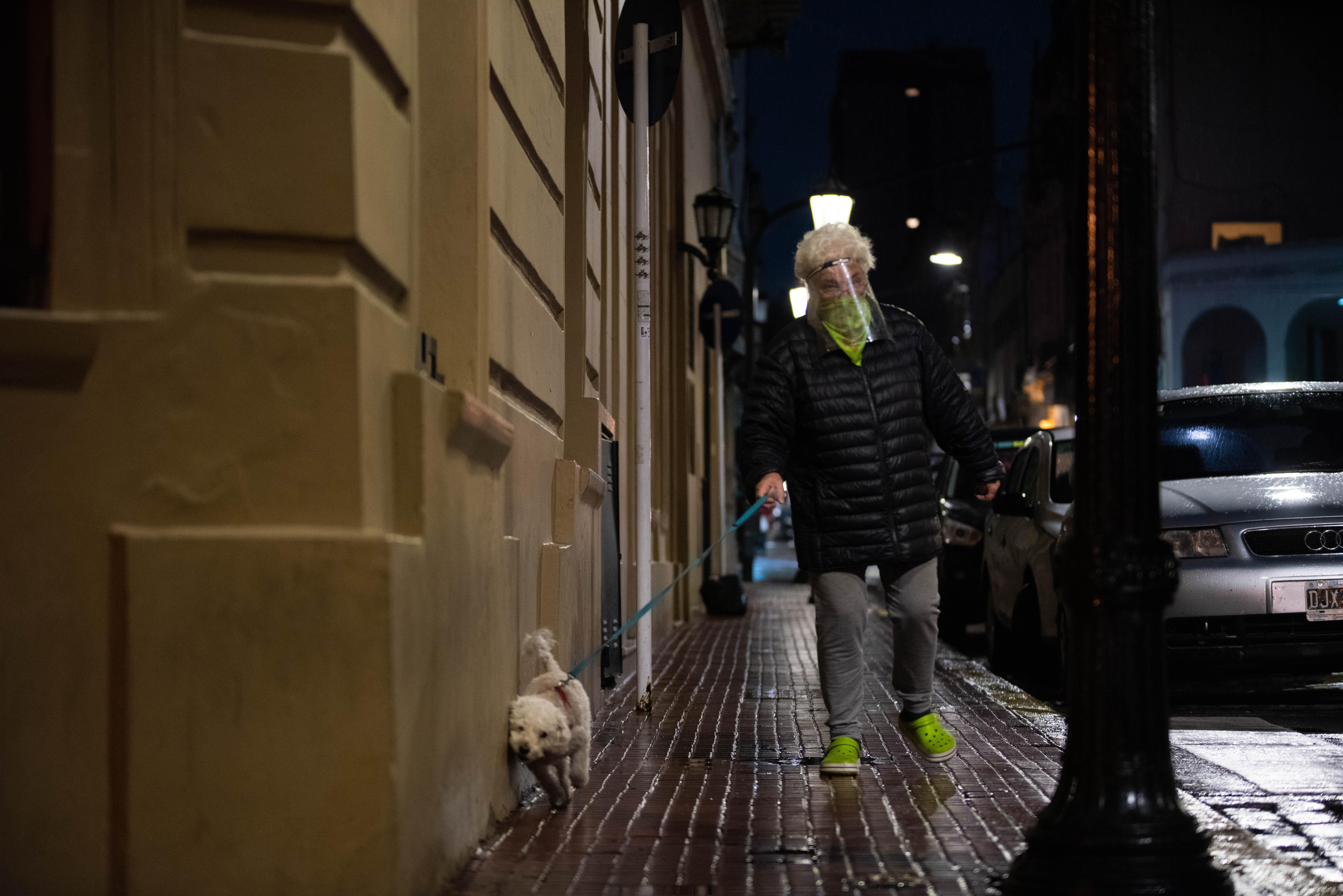 Una mujer pasea a su pequeño perro por Buenos Aires. Las mascotas fueron privilegiadas en esta cuarentena: desde el principio fue posible para los dueños sacarlas a pasear, siempre cerca de sus casas.