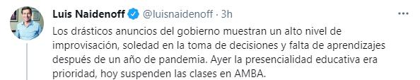Luis Naidenoff, senador nacional por Formosa y Presidente del Interbloque de Juntos por el Cambio y del Bloque UCR en la Cámara Alta, se manifestó en Twitter