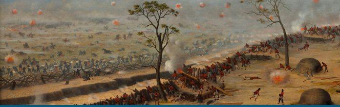 Una escena del combate de Curupaytí, reflejada con ese trazo tan particular de Cándido López, un soldado que perdió su mano derecha en esa jornada y que, un año después, comenzó a contar la guerra desde el lienzo