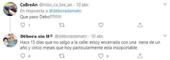 Débora D´Amato no pude contener su angustia por la situación (Foto: Twitter)