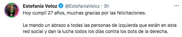 """Estefanía Veloz reconoció a las personas de izquierda que """"luchan todos los día contra los bots de la derecha"""" (Foto: Twitter@EstefaniaVeloz)"""