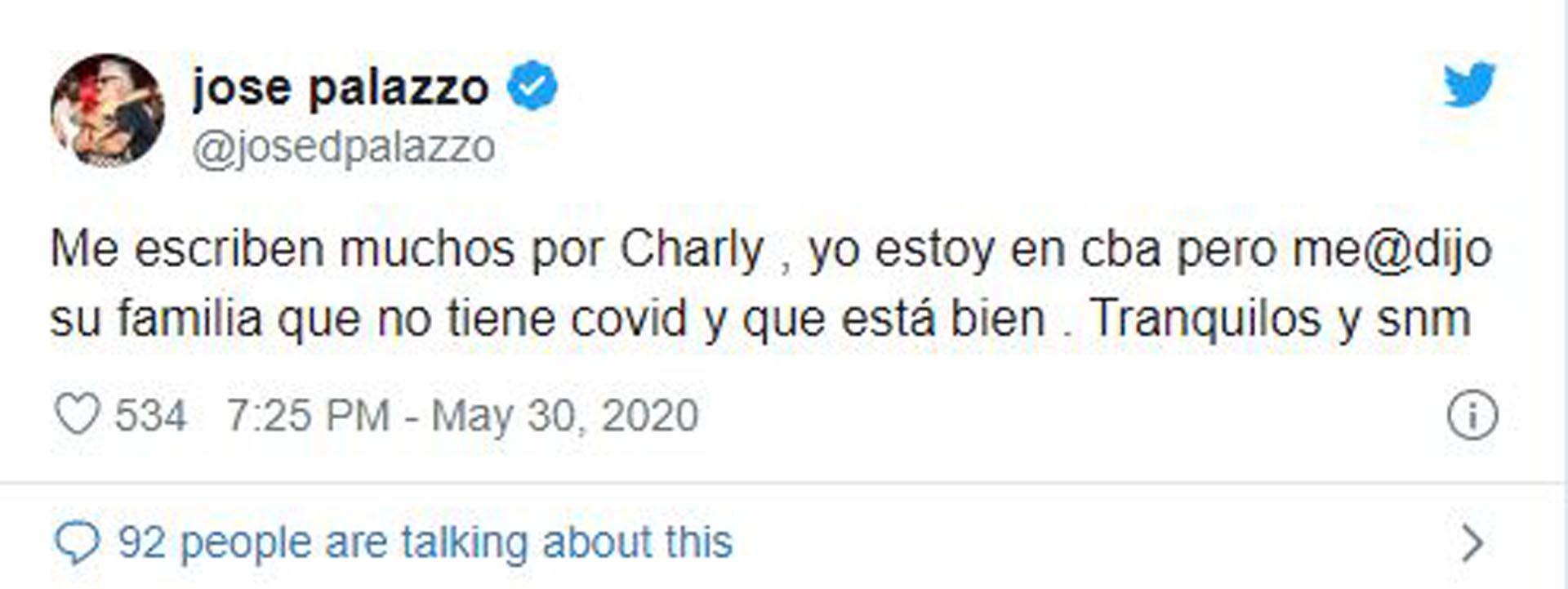 El mensaje del mánager de Charly sobre su salud (Foto: Twitter)
