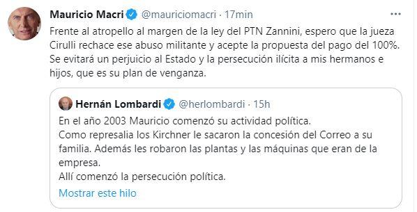 Tuit de Mauricio Macri