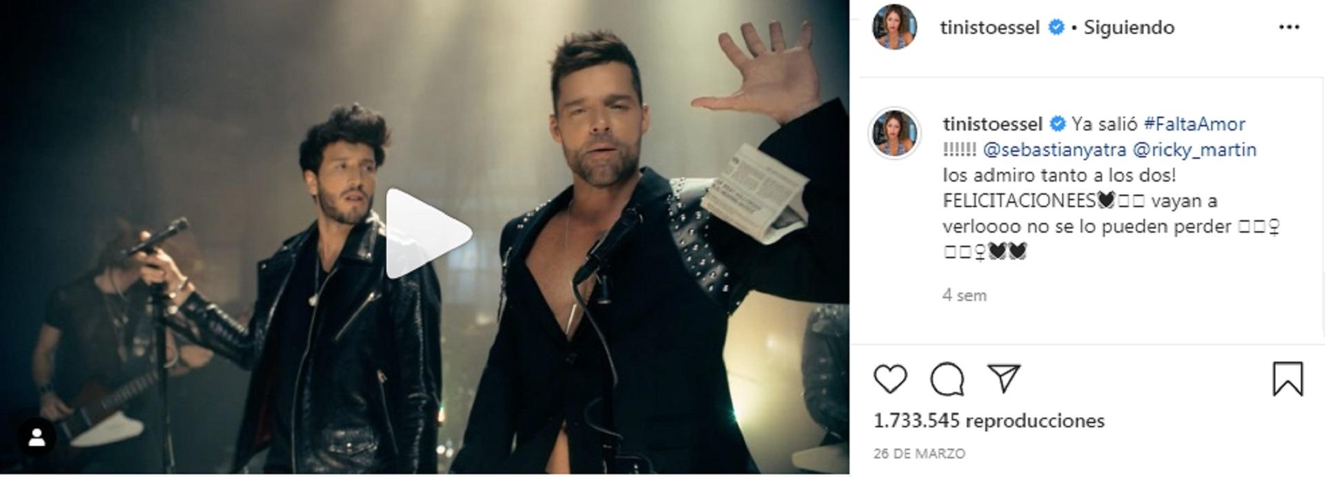 El último mensaje de Tini sobre Sebastián en sus redes sociales fue el 26 de marzo, cuando promocionó el nuevo tema que el cantante lanzó junto a Ricky Martin