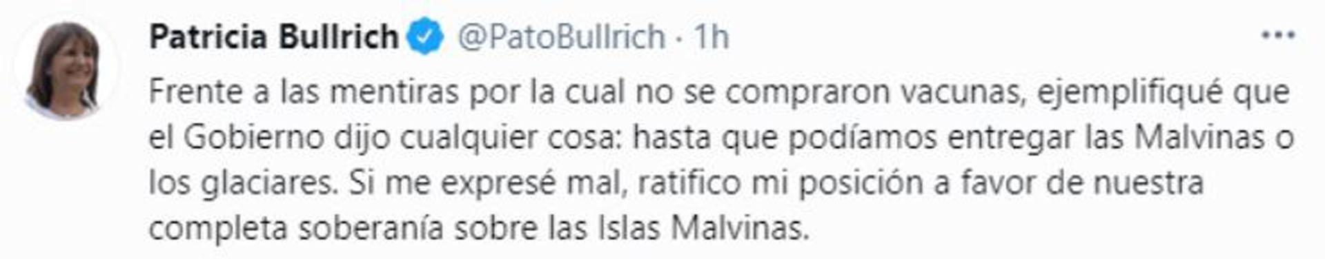El descargo de Bullrich tras las críticas (Twitter)