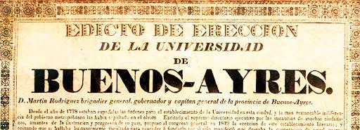 El edicto de fundación de la universidad, firmado por Martín Rodríguez.