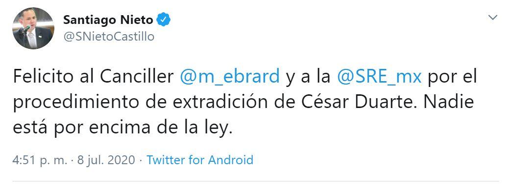 Santiego Nieto, titular de la UIF, celebró la detención de Duarte (Foto: Twitter / @SNietoCastillo)