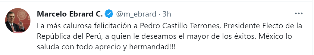 El mensaje de la Cancillería de México hacia el presidente electo de Perú