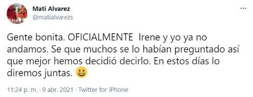 La atleta dio a conocer la noticia a través de su cuenta de Twitter (Foto: Twitter @matialvarezs)