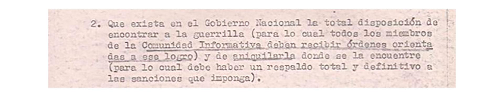 Condición del comandante de la V Brigada al general Anaya para la Operación Independencia.