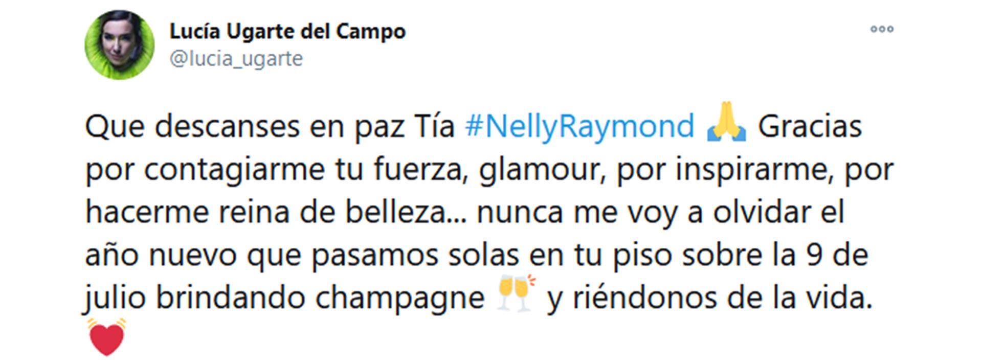 El tuit de Lucía Ugarte para despedir a su tía abuela Nelly Raymond