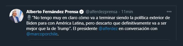 Tuit de Alberto Fernández opinando sobre Biden y Trump. Twitter: @alferdezprensa)