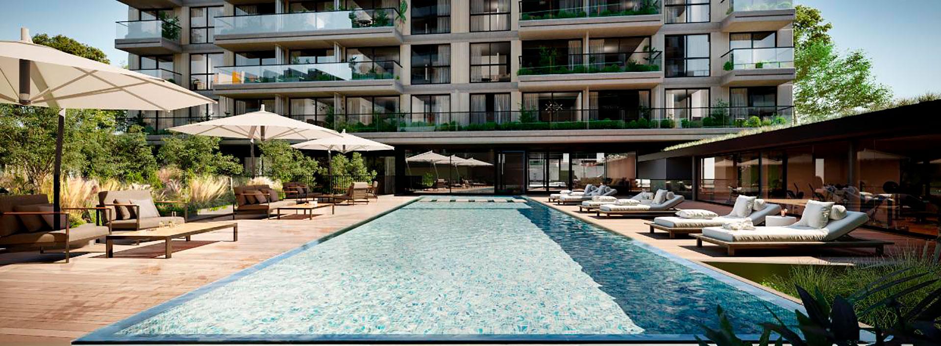 Las piscinas son protagonistas en varios de los desarrollos que se están lanzando para captar al público que dispone de ahorros