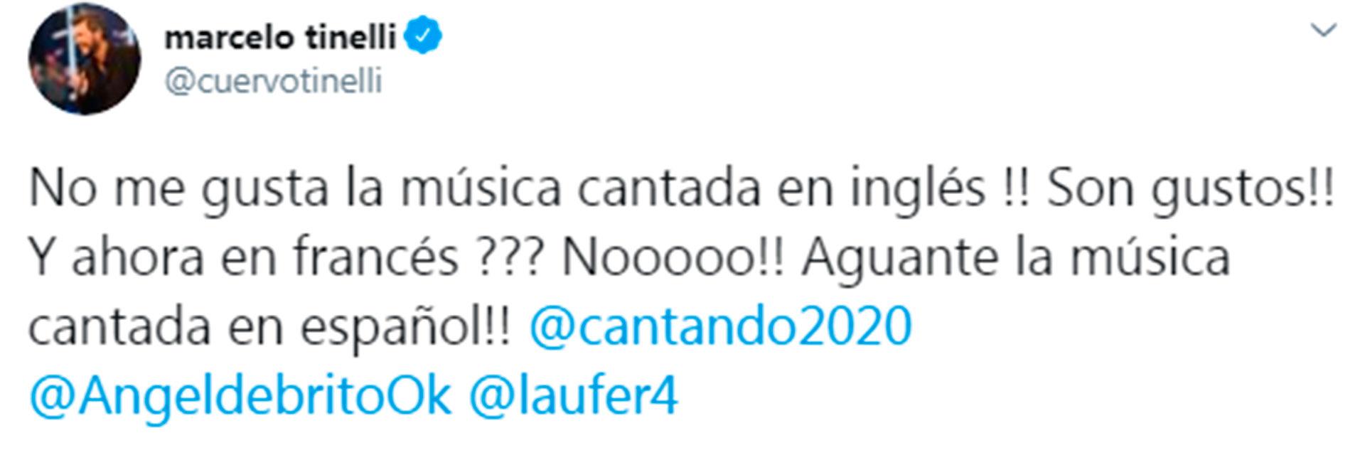 Marcelo Tinelli se manifestó a favor de que los participantes canten en español