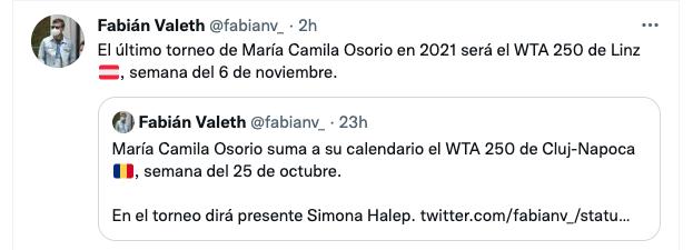 Las últimas competencias de María Camila Osorio en la temporada 2021. Captura de pantalla