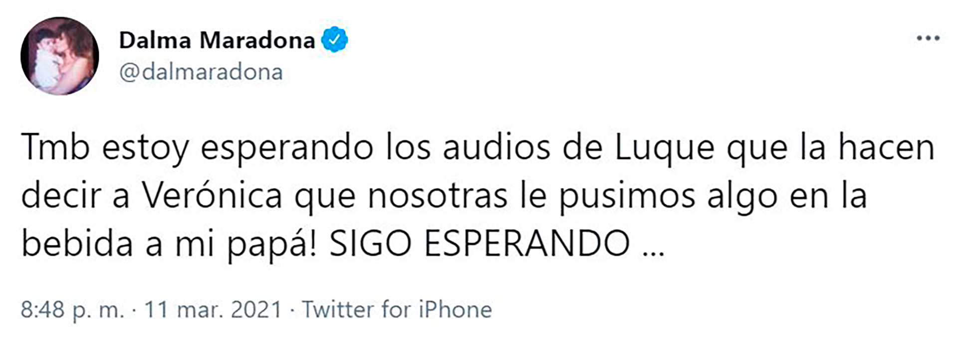 El segundo tweet de Dalma Maradona contra Verónica Ojeda y Leopoldo Luque (Foto: Twitter @dalmaradona)