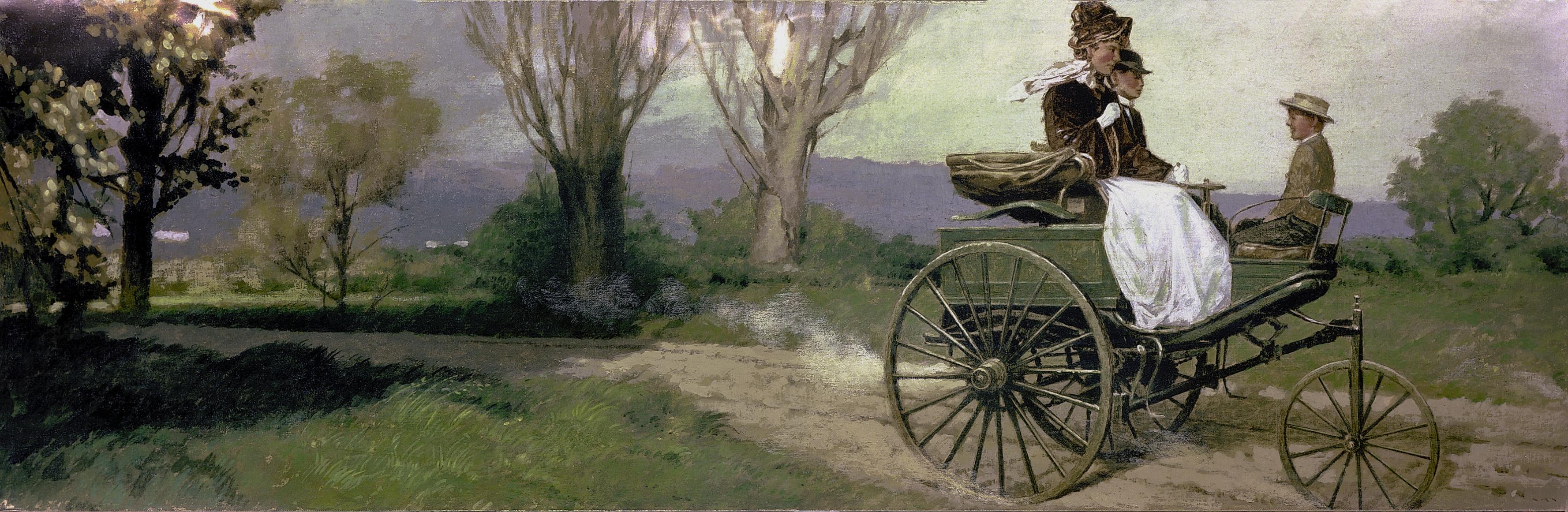 Una ilustración de ese magnífico viaje que emprendió Bertha Benz. (Foto: Mercedes-Benz)