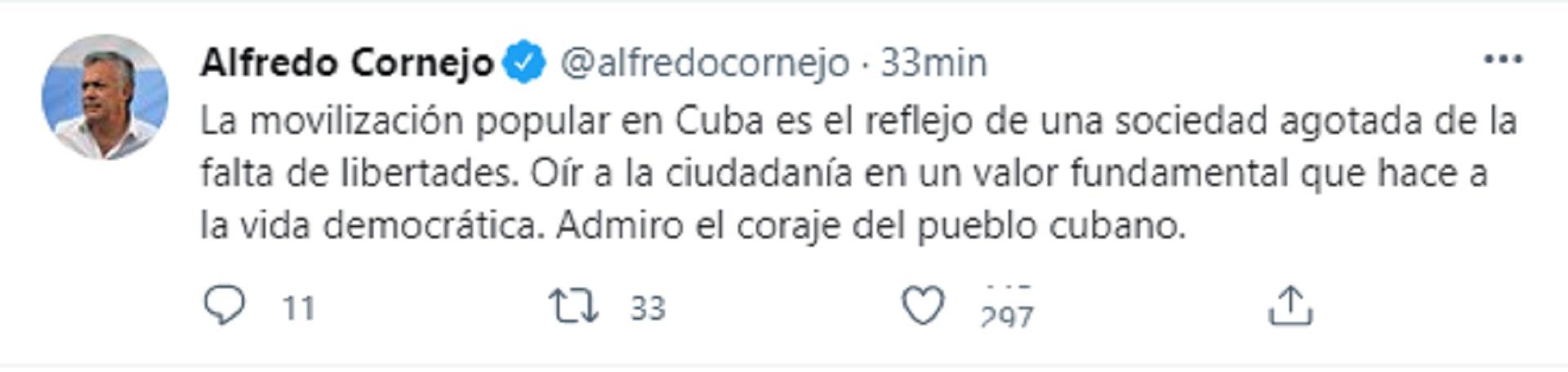 """Cornejo resaltó el """"coraje"""" de los cubanos (Twitter)"""