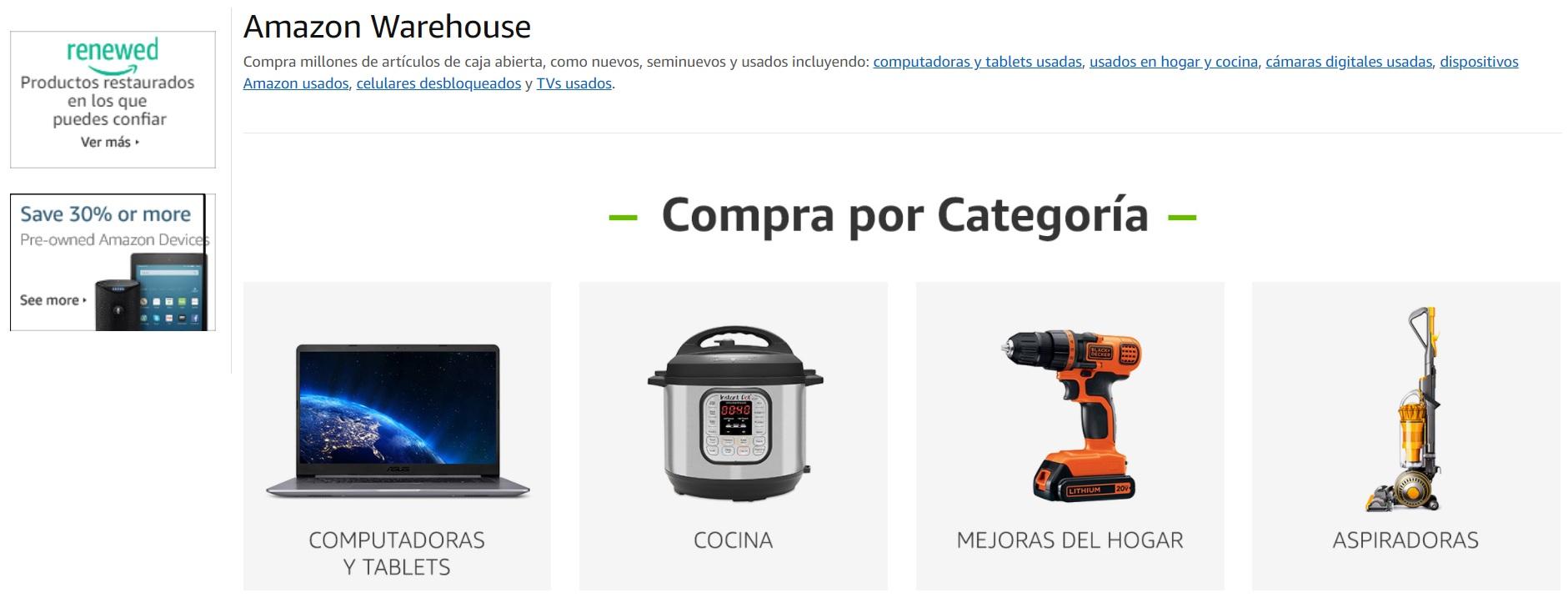 En Amazon Warehouse, puede encontrar productos a valores más bajos