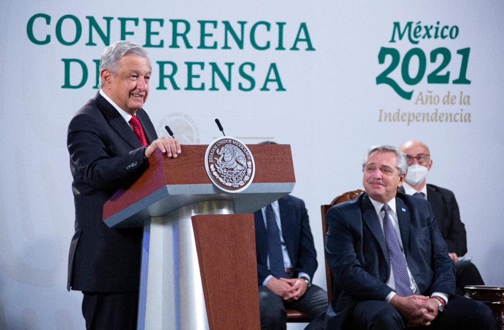 Conferencia de prensa conjunta en la Ciudad de México el 23 de febrero de 2021.