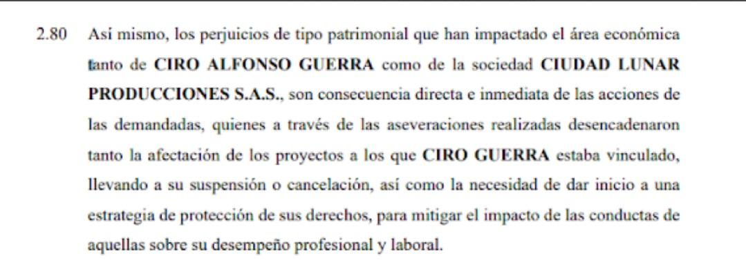 Apartado de la demanda civil de Ciro Guerra, en contra de las periodistas Catalina Ruiz-Navarro y Matilde Londoño. Foto: Twitter FLIP.
