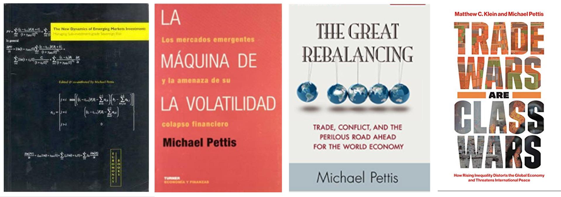 Algunos de los libros de Pettis, desde su experiencia en Wall Street a su actualidad como profesor de Finanzas en China