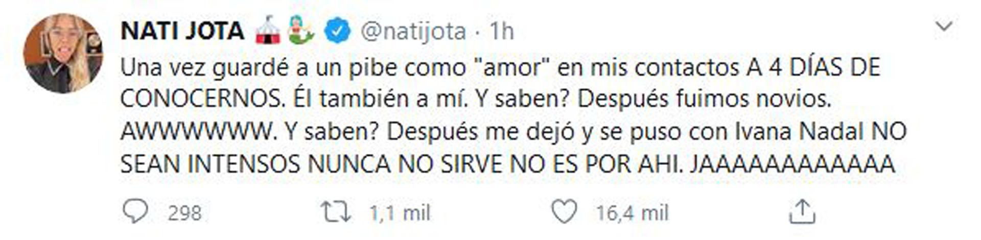El mensaje de Nati que se volvió viral (Foto: Twitter)