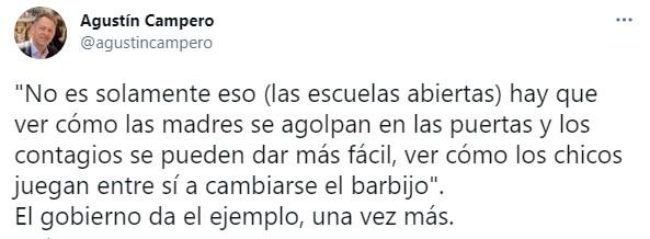 """Agustín Campero, vicepresidente de la Convención Nacional de la UCR citó los argumentos que utilizó Alberto Fernández para dar marcha atrás con la educación presidencial, para afirmar de forma irónica que """"el gobierno da el ejemplo, una vez más"""""""