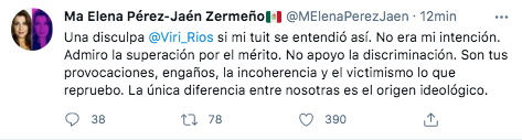 La ex comisionada se disculpó con Viridiana Ríos (Foto: captura de pantalla / Twitter@MElenaPerezJean)